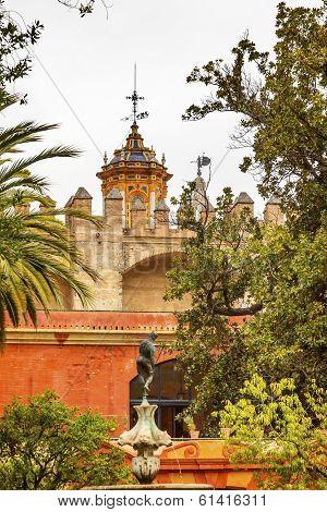 Church Steeples Statue Garden Alcazar Royal Palace Seville Spain