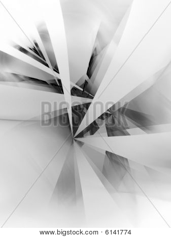 B&W Quantum Rays - fractal illustration