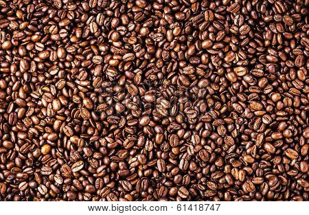 Roasted Coffee Beans Background Texture. Arabic Roasting Coffee - Ingredient Of Hot Beverage. Brown