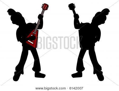 Punk-Gitarrist silhouette