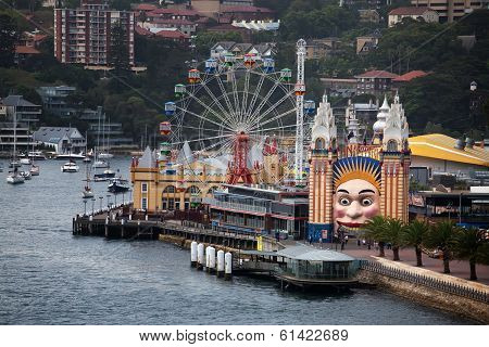 Luna Park funfair and Milsons Point ferry wharf, Sydney