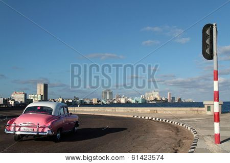 Classic old American car on Malecon