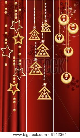 Three Christmas banners.