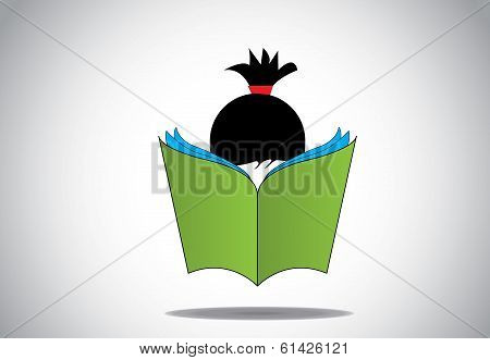 Young Smart Girl Kid Reading 3D Green Open Book Education Concept