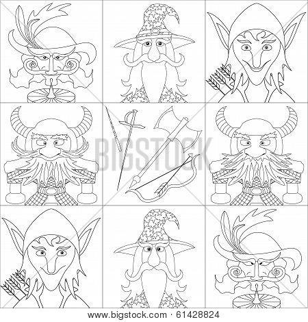 Fantasy heroes, set avatar, contour