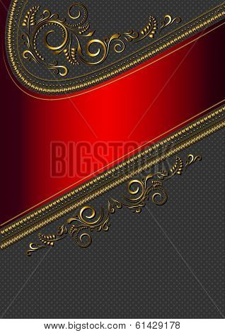 Red border with gold pattern