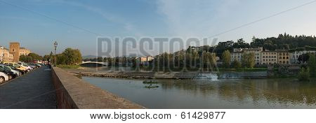 View Of Arno River And Ponte Alle Grazie In Florence, Italy.