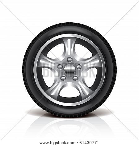 Car Tire Isolated On White Vector