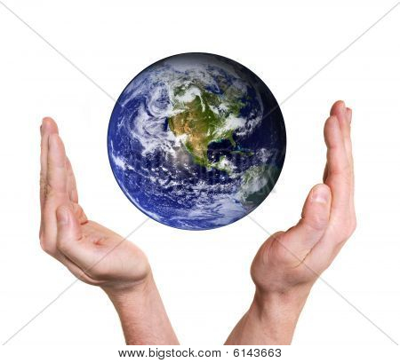Hands Protecting Planet Earth