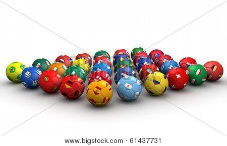 Country flag soccer balls 3d illustration