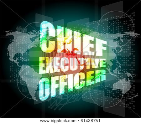 Chief Executive Officer Word On Digital Touch Screen