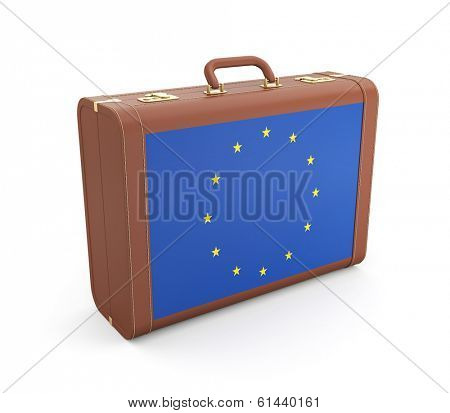 Suitcase with Europe flag