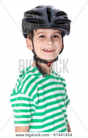 Boy Bicyclist With Helmet