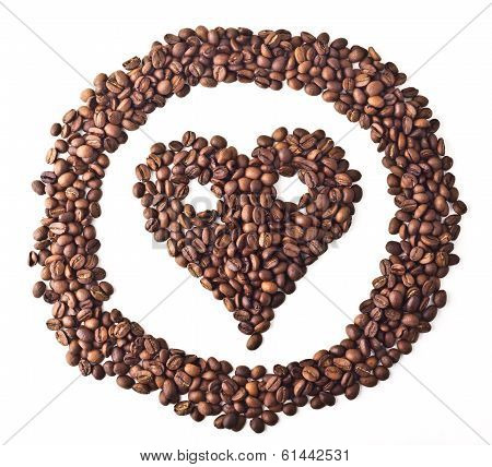 Sight 'Heart' with eyes in circle from Coffee beans