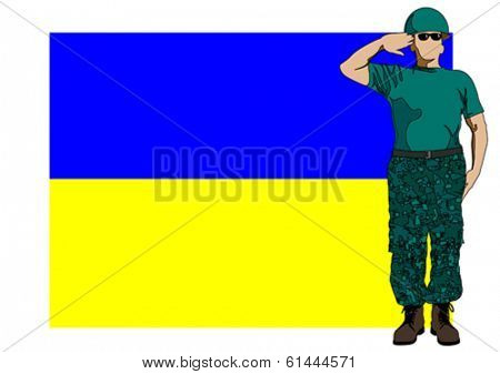 Soldier in uniform with Ukrainian flag