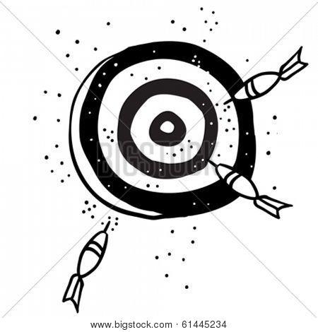 target with darts cartoon doodle