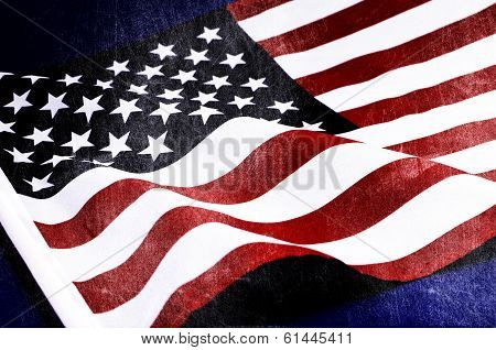 Grunge Distressed Aged Old Usa Flag For Memorial Day, D-day 6 June 1944, 70Th Anniversary Wwii, Or 1