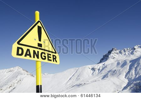 warning sign in the mountains