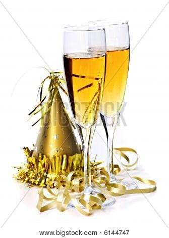 Champagne And New Years Decorations