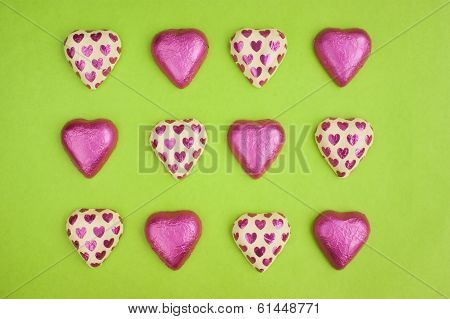 Chocolate Heart Shapes Wrapped In Tin Foil.