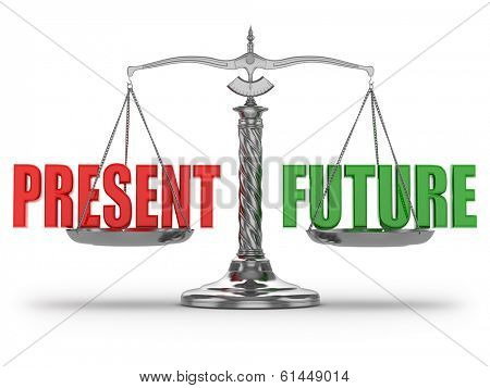 Choosing present or future. Scales on white isolated background.  3d
