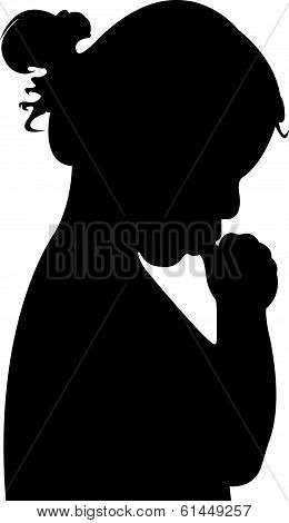 baby girl sucking fingers, silhouette vector