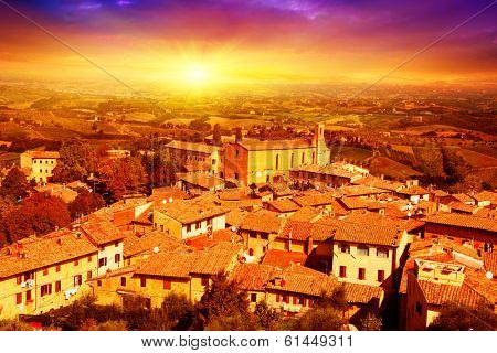 Colorful sunset over Tuscany.Italy.