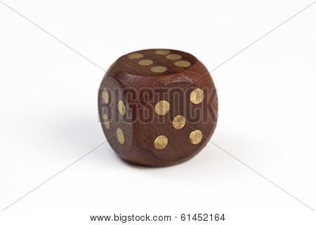 Woden dice isolated on white background