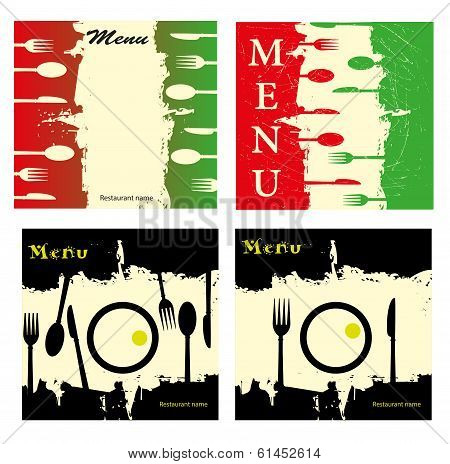 series of menu in grunge style