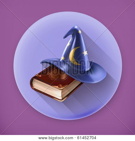 Wizard hat and old book, long shadow vector icon