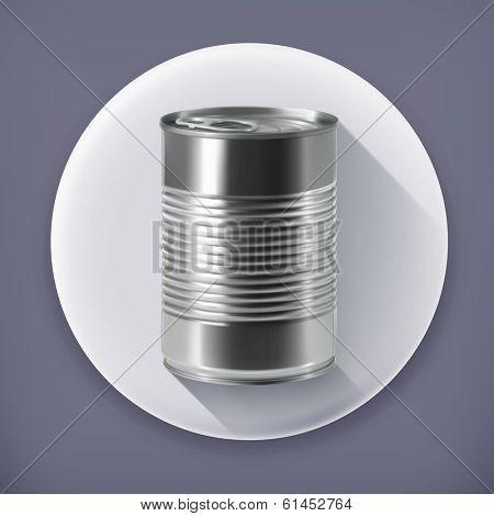 Tin can, long shadow vector icon