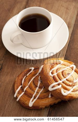 Cup Of Hot Espresso Coffee With Fresh Buns