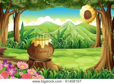 Illustration of a stump at the jungle with a big pot of honey