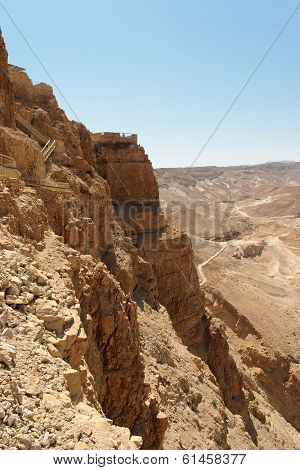 Masada cliff and surrounding desert  in Israel