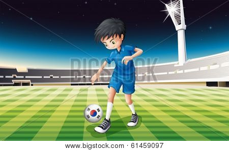Illustration of a male athlete using the ball with the South Korean flag
