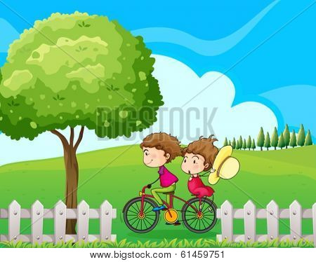 Illustration of a boy biking with his girlfriend