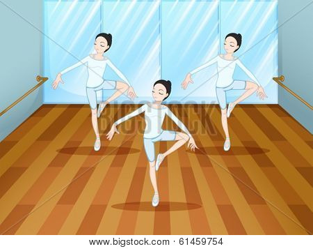 Illustration of a dance rehearsal inside the studio