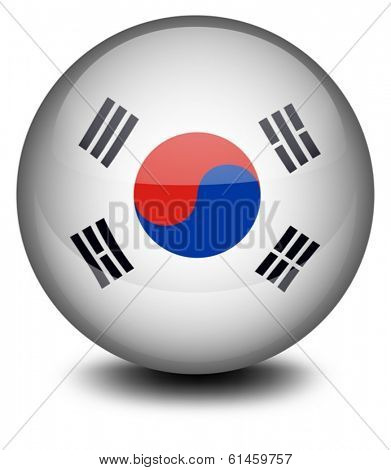 Illustration of a ball with the South Korean flag on a white background