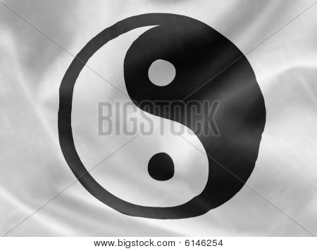 yin yang symbol on a flag