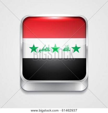 vector 3d style flag icon of Iraq