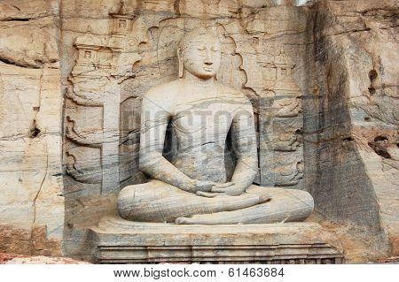 Unique Monolith Buddha Statue In Polonnaruwa Temple - Medieval Capital Of Ceylon