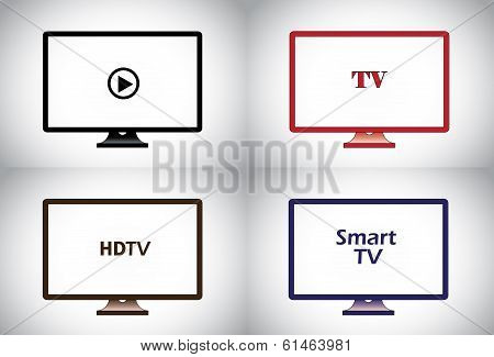 Colorful Flat Lcd, Hd, Smart Plasma Tv Television Icon Set. Different Colored Wide Screen Television