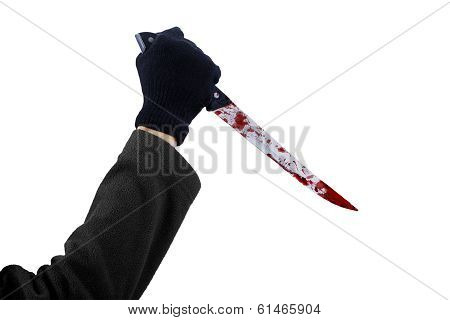 Hand Holding Bloody Knife Isolated