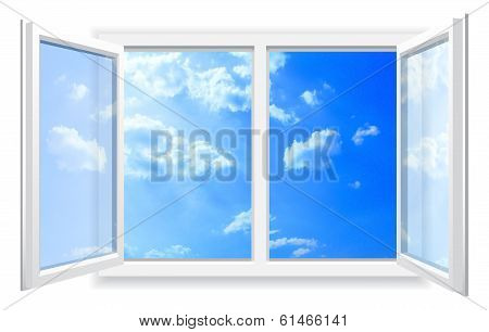 Open Window And The Cloudy Sky.