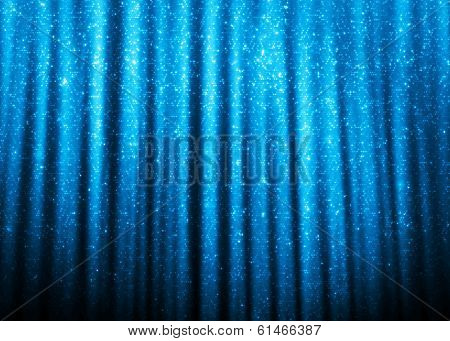 Blue sparkle glitter curtains background.