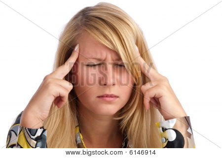 Young Beautiful Woman Having Headache