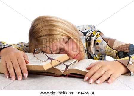 Young Woman Tired Of Studying
