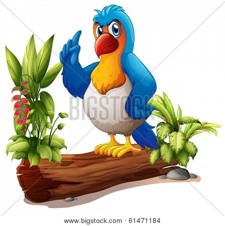 Illustration of a parrot above the trunk with plants on a white background