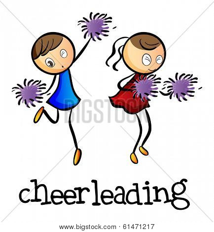 Illustration of the cheerleaders dancing on a white background