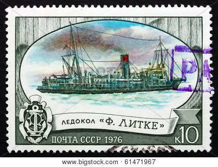 Postage Stamp Russia 1976 Fedor Litke, Icebreaker